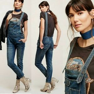 NWOT FREE PEOPLE WASHED DENIM OVERALL DISTRESSED